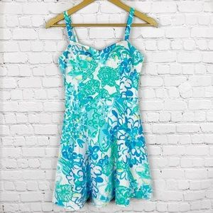 LILLY PULITZER Blue/White Printed Dress 0